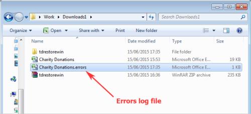 Errors log file