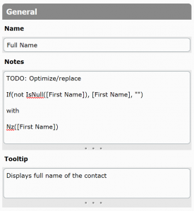 Comments in notes and tooltip field