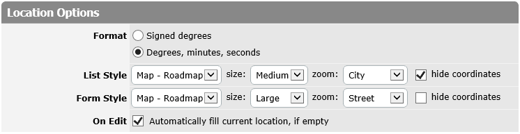 Location column's options