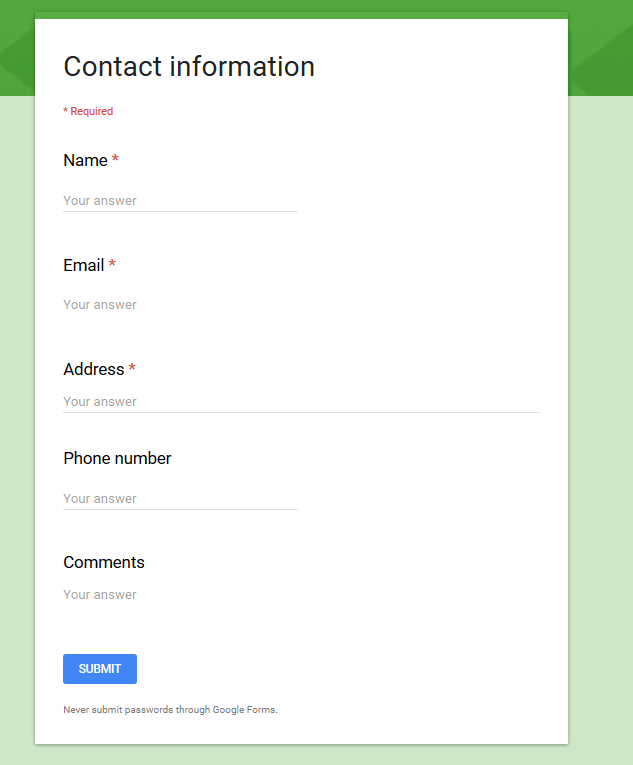 You Need To Store The Data Submitted Via This Form In Your U201cContact  Managementu201d Online Database Built Based On TeamDesk. So, When A Customer  Submits The ...  Customer Contact Information Form