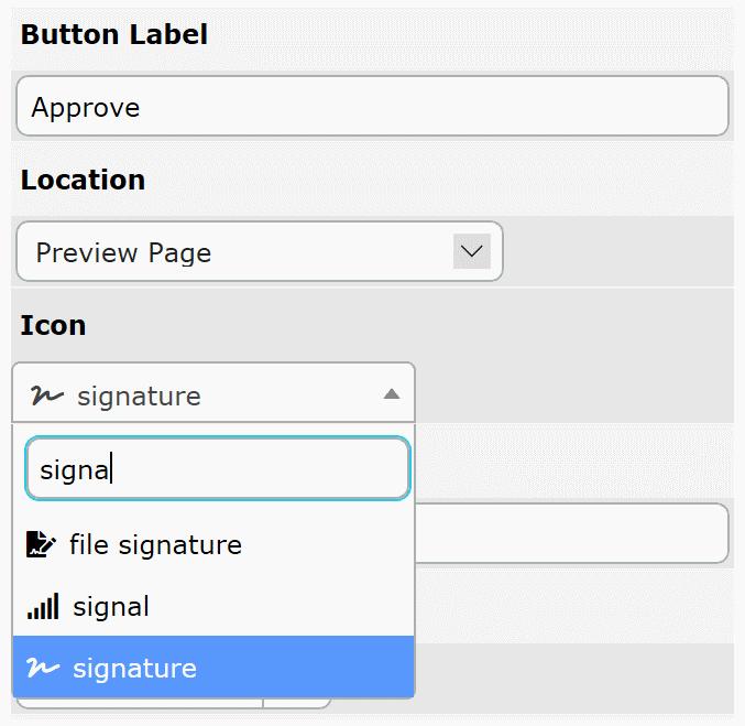 Icons' setup UI