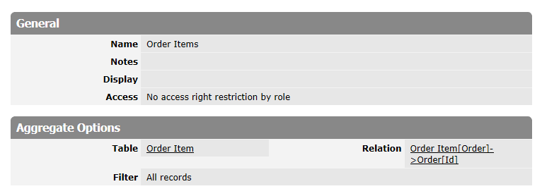 RecordSet column's options.