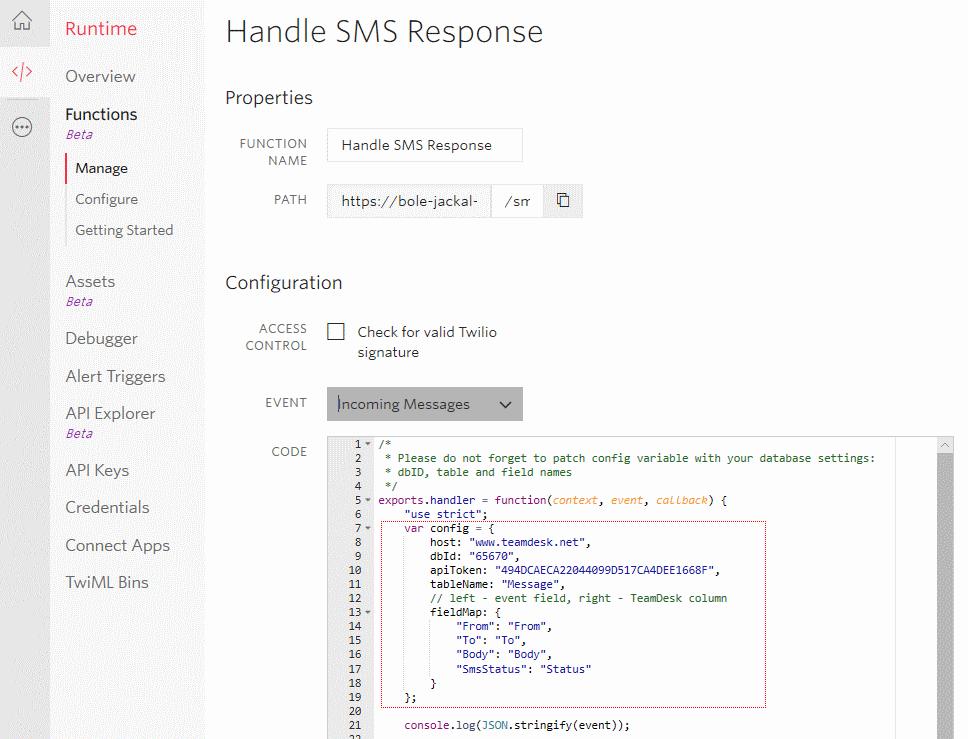 """Handle SMS Response"" Twilio funciton setup"