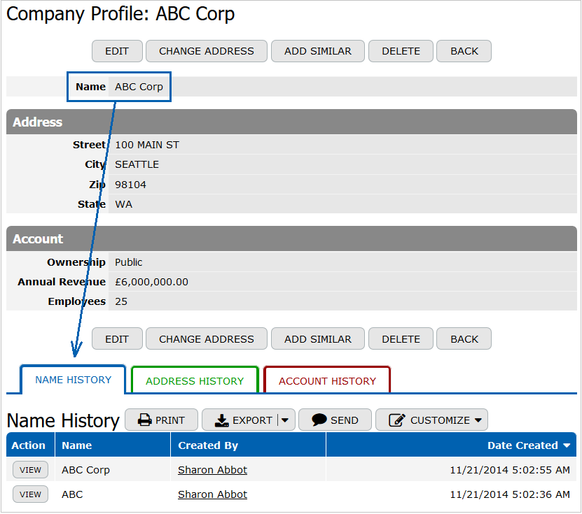 Changes Tracking of Company Names