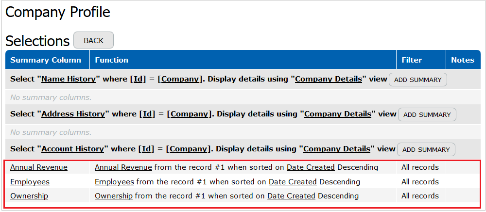 Changes Tracking Summary Columns