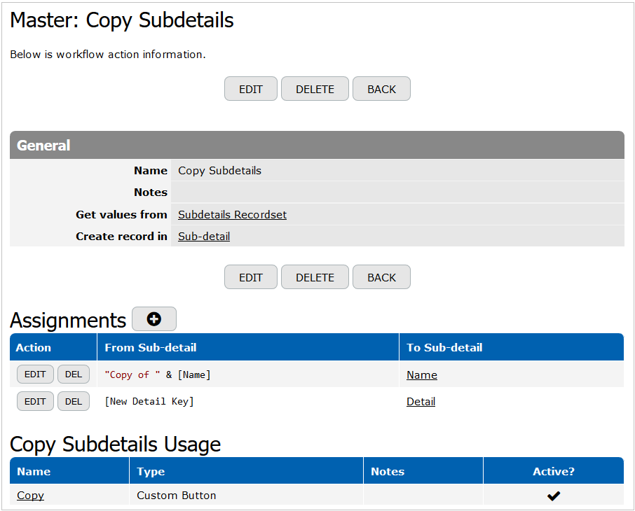 Copy Subdetails action