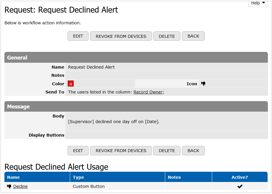 Request Declined Alert