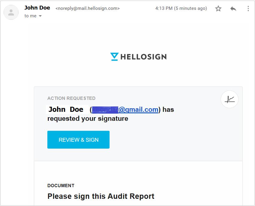 eSignature email notification