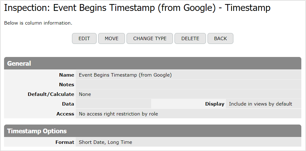 Event Begins Timestamp column