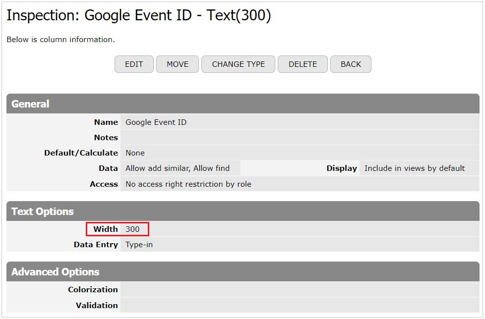 Google Event ID Text column