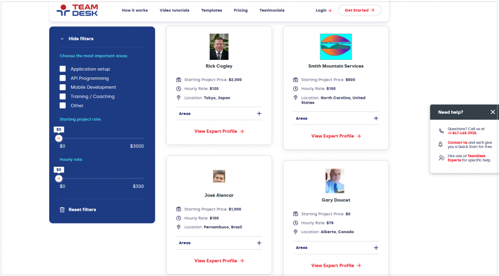 Experts Page Design