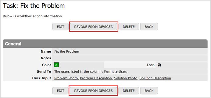 Revoke Mobile Request button