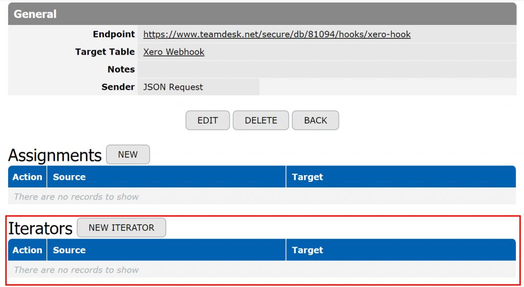 Iterators in webhook setup