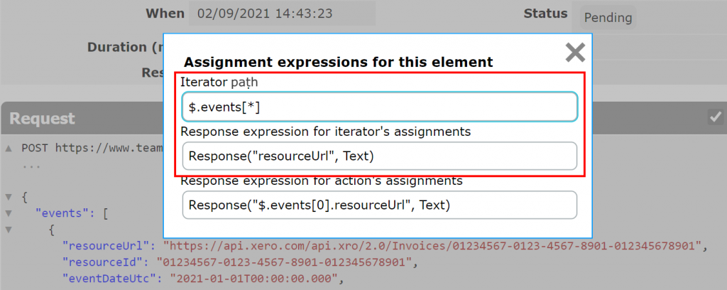 Iterator's path and assignment expression