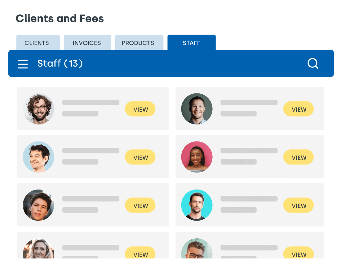 Clients and fees Interface